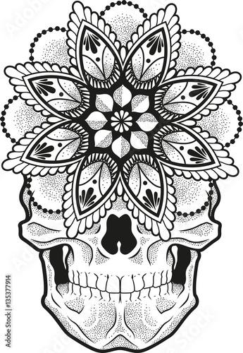 0ed8fe7cb Vector illustration of a mandala skull shaded with dots - Buy this ...