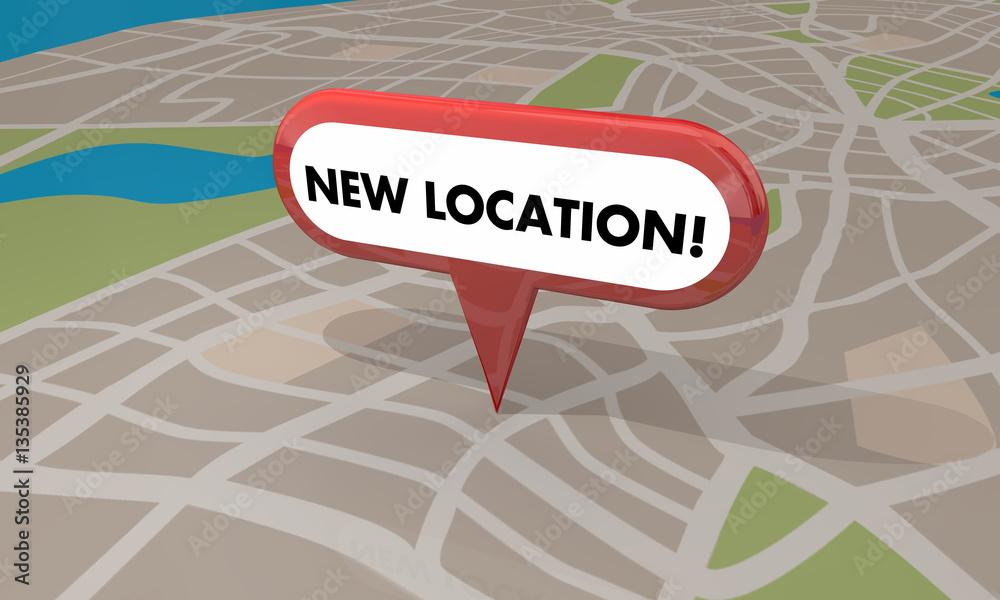 Fototapeta New Location Store Business Grand Opening Pin Map 3d Illustratio