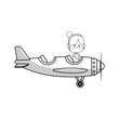 kawaii girl on a plane over white background. vector illustration