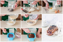 A Step By Step Collage Of Making Blueberry Loaf Cake