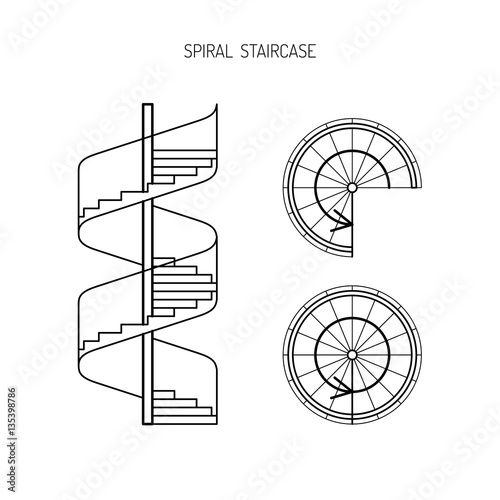 spiral staircase vector image in a linear fashion Wallpaper Mural