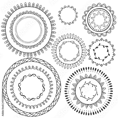 Big Collection Of Hand Drawn Black Circle Frames Round Borders