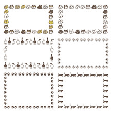 いろいろな種類の猫、猫しりや肉球の飾り枠