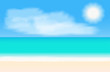 Tropical beach panorama. Vector background illustration.