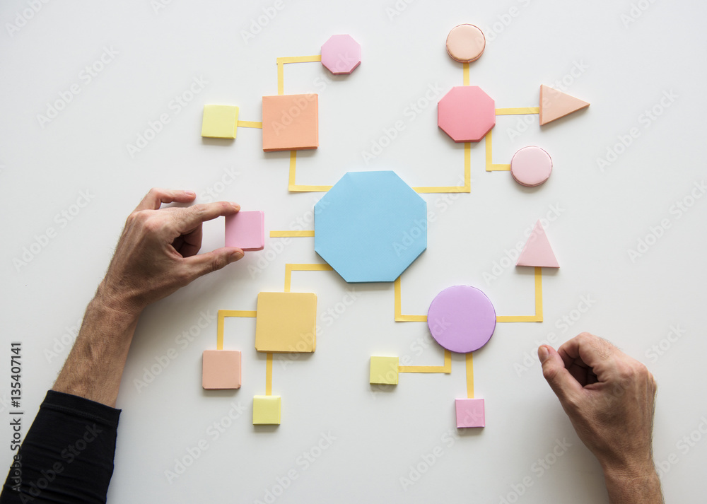 Fototapety, obrazy: Business Process Concept Shapes Paper
