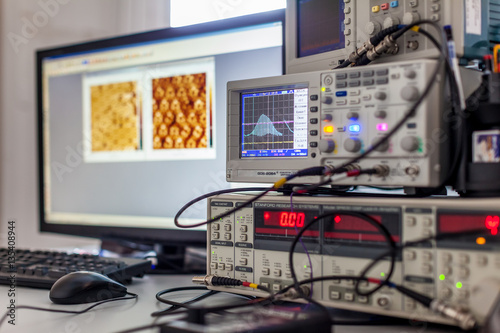 Fotografie, Obraz  digital oscilloscope on Desk with computer