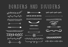 Line Borders, Text Dividers And Laurel Design Elements