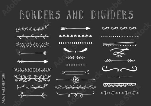 Line borders, text dividers and laurel design elements Canvas-taulu