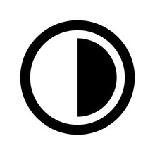 Brightness And Contrast Vector Icon.
