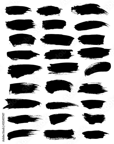 Obraz Paint or marker vector strokes, blobs, dabs set - fototapety do salonu