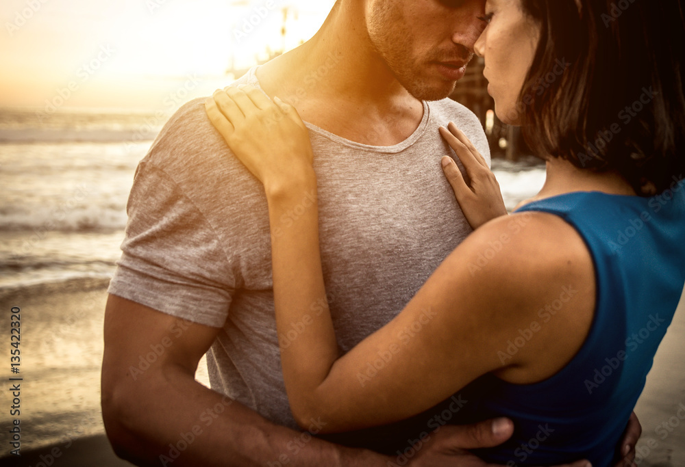 Fototapety, obrazy: Happy couple spending time in Santa monica