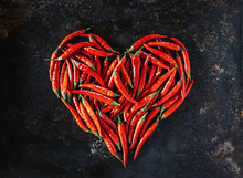 Red Chili Peppers In Heart Sha...