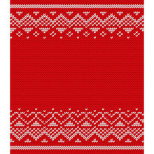 Knitted Pattern. Vector Valentine Day Knitting Texture With Place For Text. Seamless Red Background With Hearts. Flat Design.