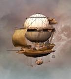 Steampunk vintage airship - 135424503