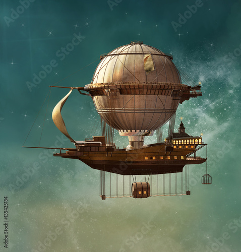 Steampunk fantasy airship Wallpaper Mural