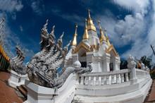 Outdoor Large Pagoda In Buddhist Temple Wat Tham Khuha Sawan,Thailand