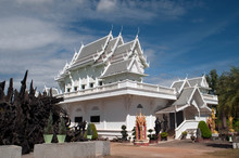 White Church In Buddhism Temple Wat Tham Khuha Sawan,Thailand.