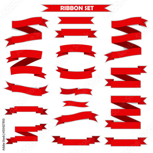 Ribbon vector icon set red color on white background  Banner