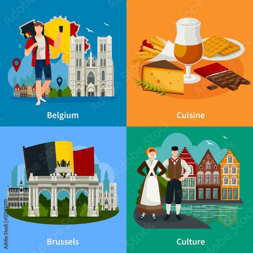 Fotografía  Belgian Landmarks Flat Style Travel Concept