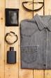 Camisa de jean gris de hombre