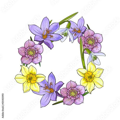 Round Frame Of Spring Flowers Decoration Element Sketch Vector
