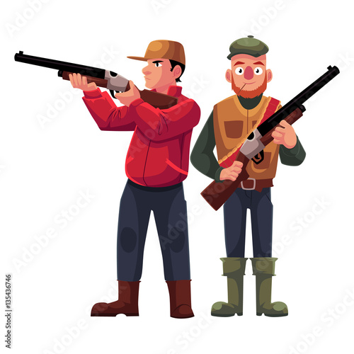 Two hunters, one in vest holding rifle, another aiming with a gun, cartoon vector illustration isolated on white background Fototapet