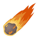 Fototapeta Dinusie - Flame meteorite icon in cartoon style isolated on white background. Dinosaurs and prehistoric symbol stock vector illustration.
