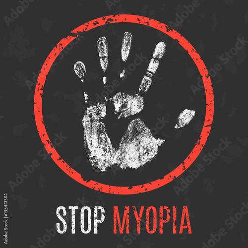 Fotografía  Vector. The medical diagnosis. Stop myopia.