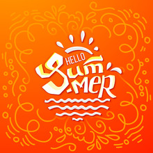 Hello Summer Doodle Lettering