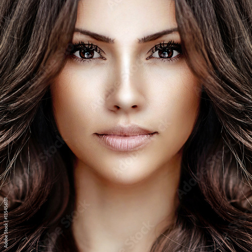 Plakat Piękna dziewczyny twarz - zakończenie up