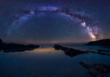 Milky Way And The Perseids / Long Time Exposure Night Landscape With Milky Way Galaxy During The Perseids Flow Above The Black Sea, Bulgaria