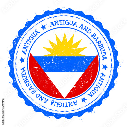 Antigua flag badge  Vintage travel stamp with circular text
