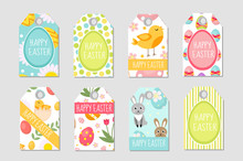 Cute Easter Tags Set. Labels Collection With Easter Rabbit, Eggs And Flowers. Spring Templates For Your Design. Vector Illustration