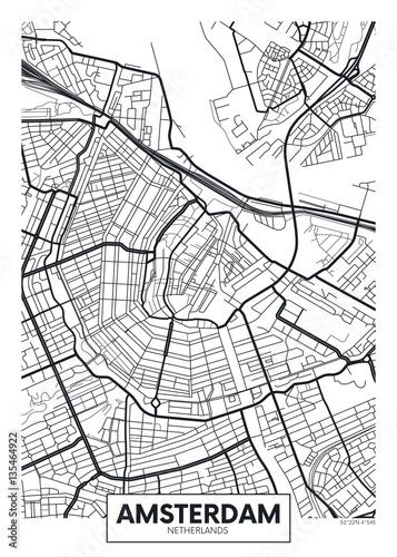Fototapeta premium Wektor plakat mapa miasta Amsterdam
