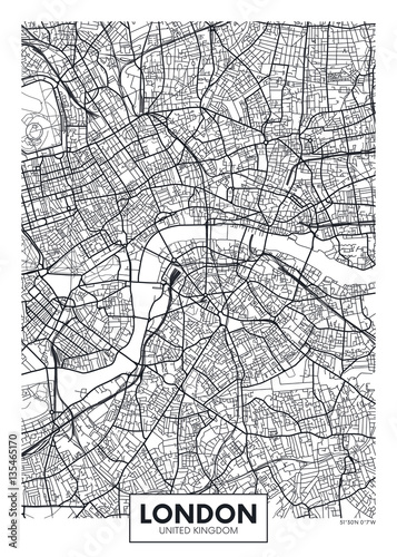 Fotografie, Obraz Vector poster map city London