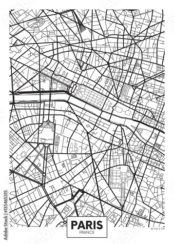 Vector poster map city Paris Wallpaper Mural