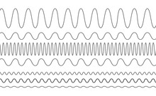 Sin Waves With Different Frequencies And Amplitudes Vector Graph