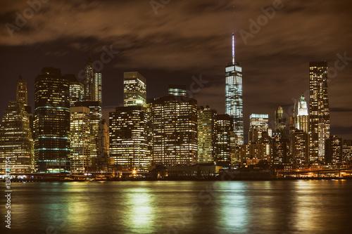 Fototapety, obrazy: Manhattan skyline at night