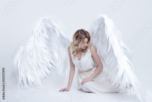 Fényképezés  beautiful young model with big angel wings sitting in the studio