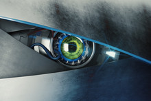 Green Cyber Eye With Mean Look