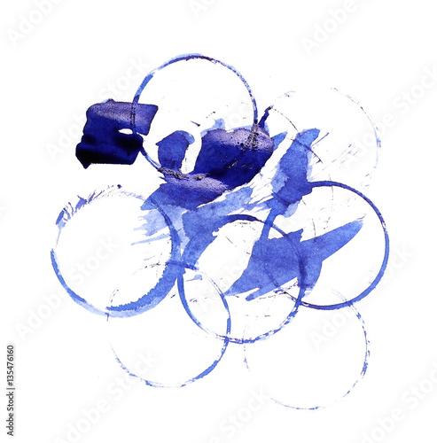 Foto op Plexiglas Schilderingen blue ink splashes isolated on white, with clipping path