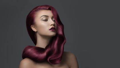 woman with beautiful dark pink hair