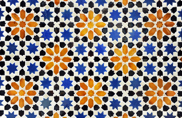 Panel Szklany Podświetlane Mozaika Azulejo de estrellas de estilo árabe