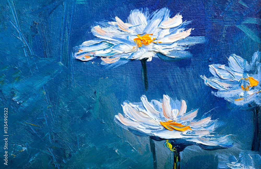 Fototapety, obrazy: Oil painting Daisy flowers