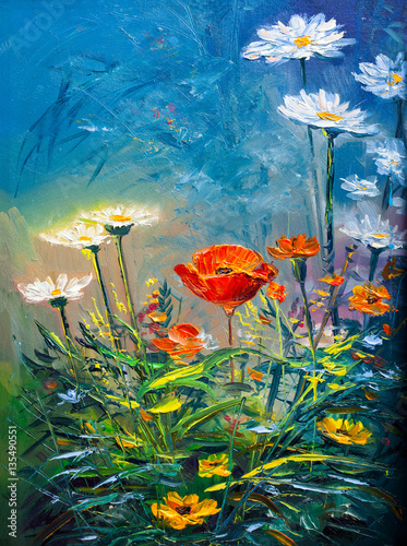 Oil painting Daisy flowers - 135490551