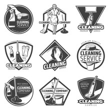 Monochrome Cleaning Service Labels