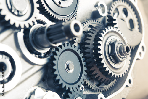 Fototapety, obrazy: engine gears wheels, closeup view