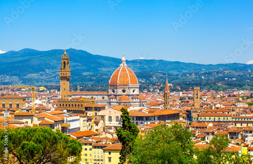 Foto op Aluminium Florence Beautiful type of Cathedral of Santa Maria del Fiore from Michelangelo's hill in summer day, Florence, Italy