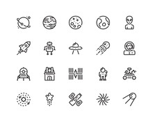 Space Icon Set, Outline Style