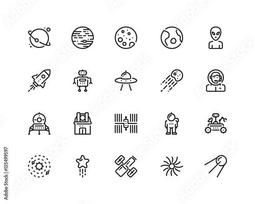 Fotografia, Obraz Space icon set, outline style